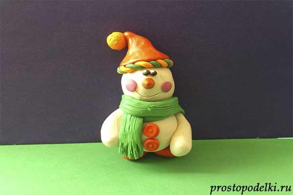 Снеговик из пластилина-11