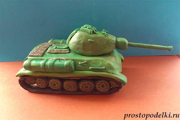 Танк Т-34 из пластилина-19