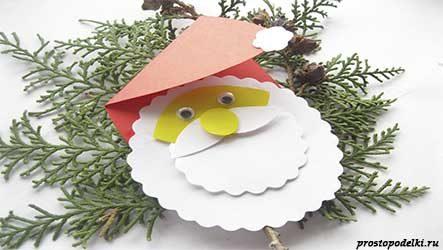 Дед Мороз из бумаги (плоская поделка)