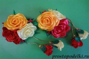Rozy-kanzashi-title-300x200 Заколки из фоамирана: цветы своими руками, фото и для волос мастер-класс, ободок автомат, МК с розой как сделать