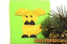 Желтая собачка аппликация