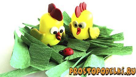 Цыплята из «киндеров» и пластилина
