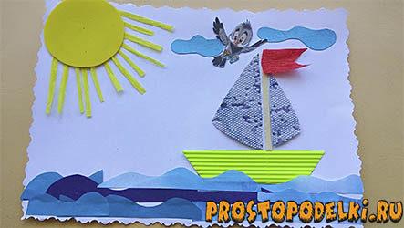 Детская аппликация с корабликом